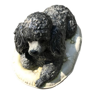 Vintage Ceramic Grey Poodle Dog, Made In USA