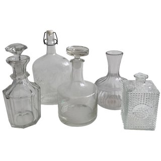 Vintage Glass Decanters - Set of 5