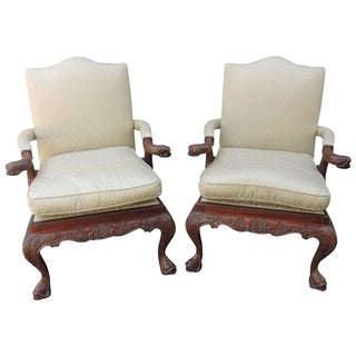 Late 19th C China Trade Library Chairs with Carved Dolphins