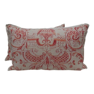 Ivory & Orange Fortuny Pillows - A Pair