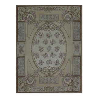 French Aubusson Design Hand Woven Cream Wool Rug - 6' X 8'