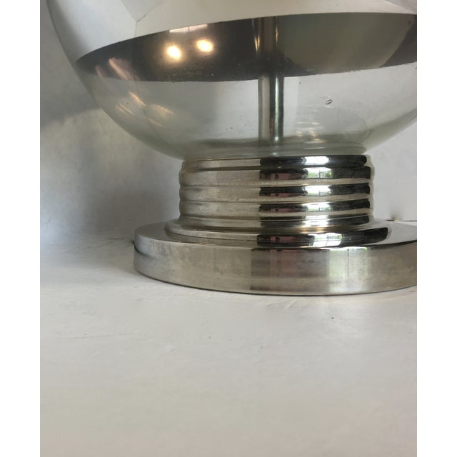 Mid-Century Round Silver Stripe Lamp - Image 6 of 7