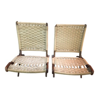 Hans Wagner Style / Ebert Wels Folding Rope Chairs - a Pair
