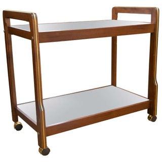 Mid-Century Wood & Brass Accent Bar Cart