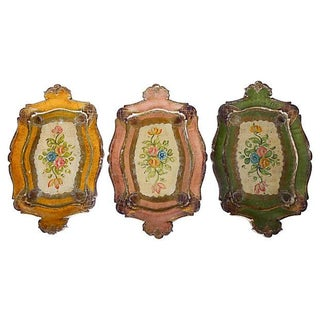 Italian Florentine Wood Trays - Set of 3