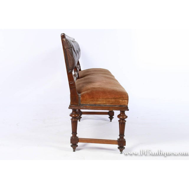French Mahogany Tufted Leather Bench Chairish