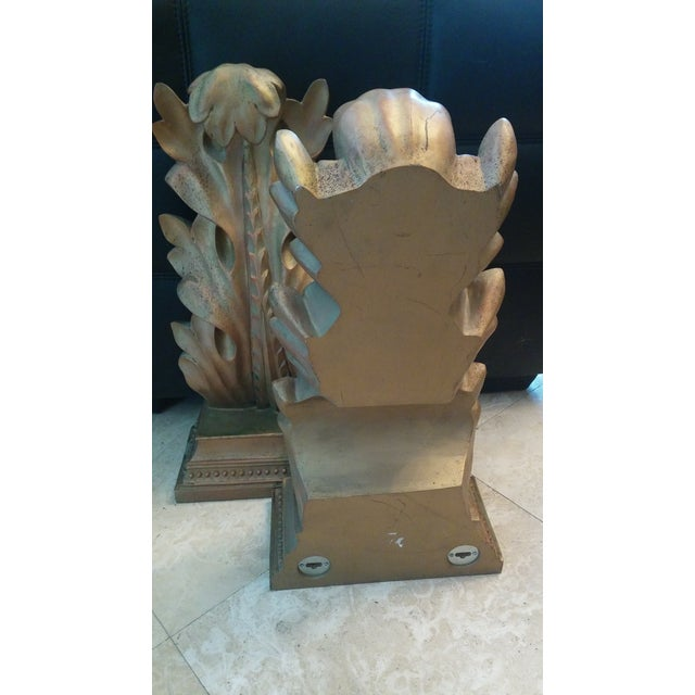 Antique Gold Ancuthus Wall Display Shelves a Pair - Image 7 of 8