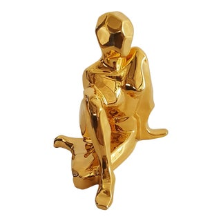 Jaru Mid-Century Modern 24k Gold Plated Cubist Nude Female Sculpture