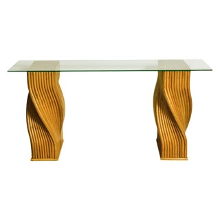 Mid-Century Twisted Bamboo Pedestal Console