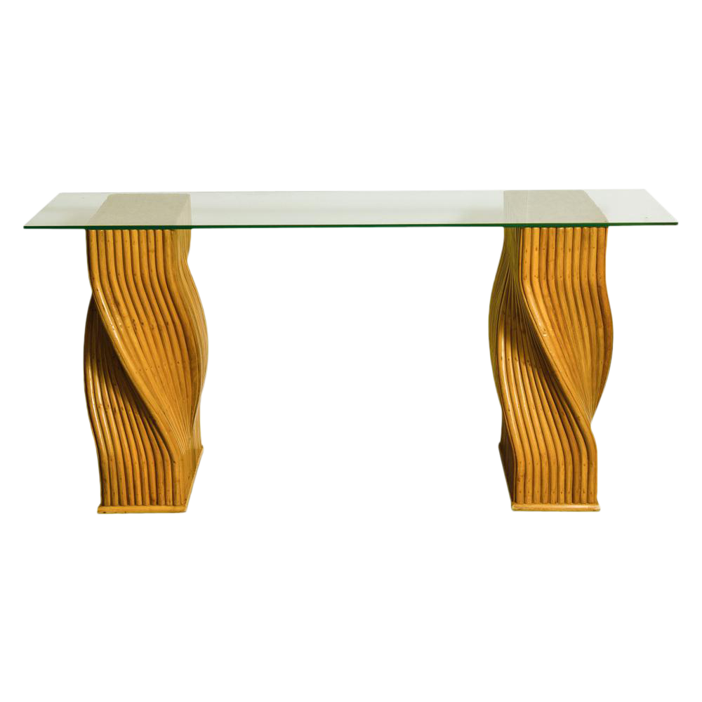Mid Century Twisted Bamboo Pedestal Console