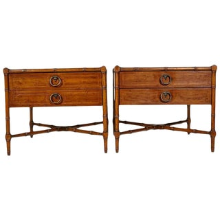 Drexel Heritage Faux Bamboo Side Tables - A Pair