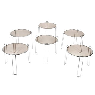Saporiti Style Chrome & Smoked Glass Stacking Tables - Set of 6