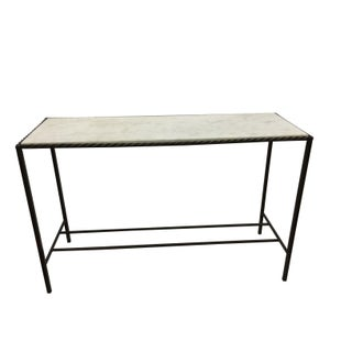 Metal Rectangular Console Table With Marble Top