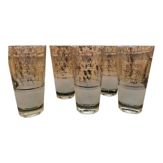 Vintage Gold Flecked & Frosted Highball Glasses - Set of 6