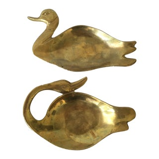 Brass Swan & Duck Trays - A Pair