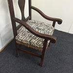 Image of Zebra Carved Wood & Wicker Armchair