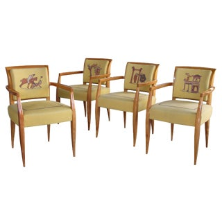 Rare Set of Four Maurice Dufrène Sycamore Game Chairs from Bayeux Tapestry