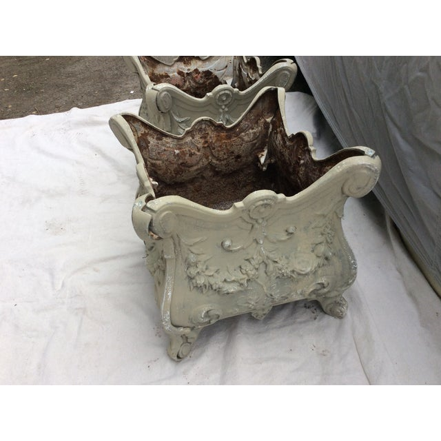 Antique French Style Cast Iron Planters - A Pair - Image 4 of 7