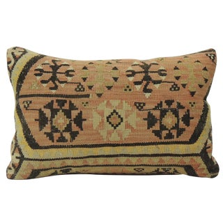 Vintage Brown Kilim Lumbar Pillow