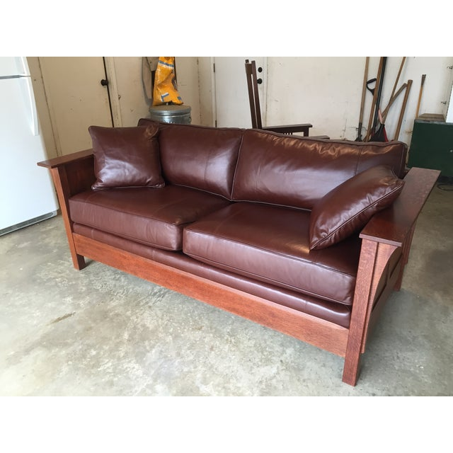 Stickley Leather and Wood Sofa - Image 2 of 7