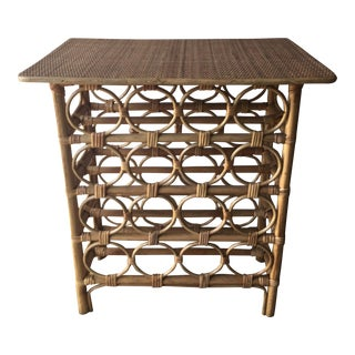 Bamboo Rattan Wine Rack Bar Table