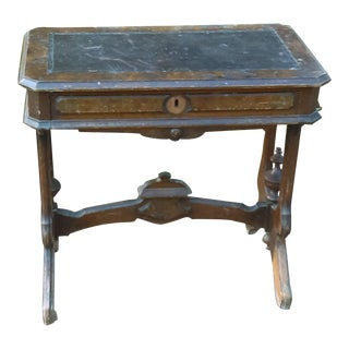 Antique Writing Desk With Stretched Leather Top
