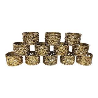 Vintage Brass Floral Filigree Napkin Rings - Set of 12