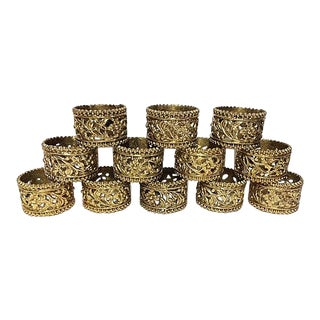 Vintage Brass Floral Filigree Napkin Rings - Set of 12