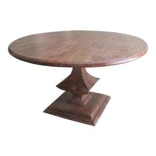 Restoration Hardware Distressed Oak Round Dining Table