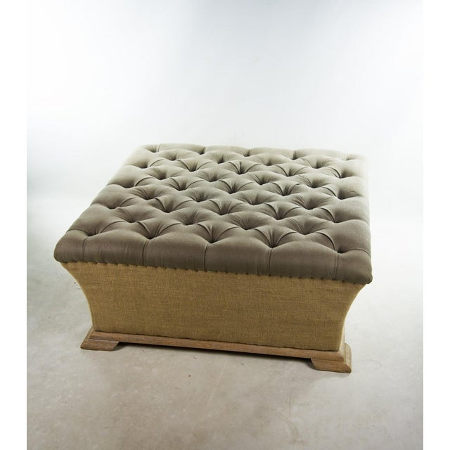 Image of Webster Burlap Linen & Wood Large Tufted Ottoman
