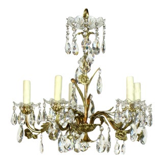 5 light Swedish Brass and Crystal Chandelier