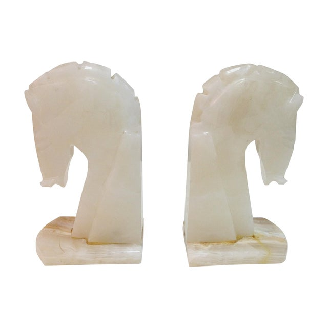Image of Mid-Century Alabaster Horse Bookends - A Pair