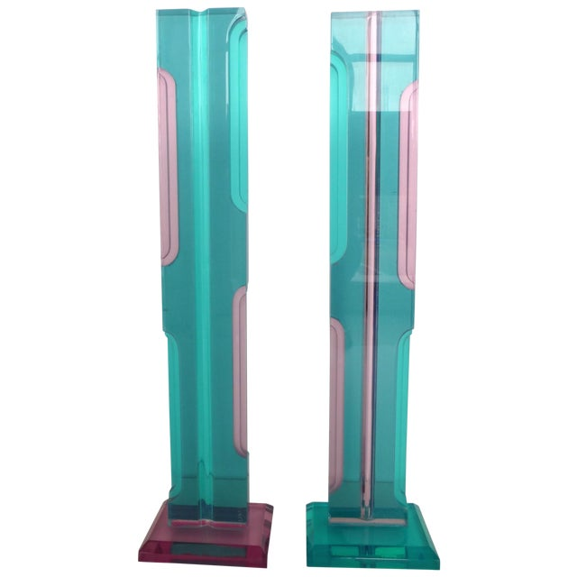 Mid Century Lucite Sculptures - Pair - Image 1 of 8