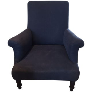 Vintage Upholstered Navy Club Chair