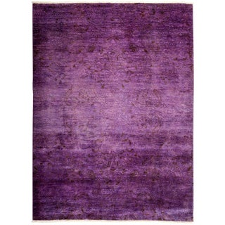 """Purple Over Dyed Hand Knotted Rug- 6' 2"""" x 8' 3"""""""