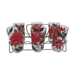 Vintage Poinsettia Tumblers & Caddy - Set of 6