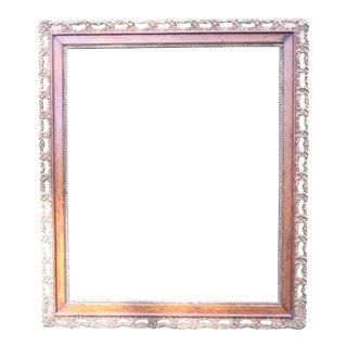 Vintage Large Picture Oak Frame with Inner Border of Gold Finished Gesso