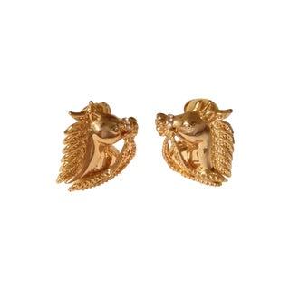 Equestrian Horse Head Crystal Earrings