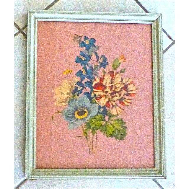 Image of Framed Vintage Floral Prints 1940s - A Pair