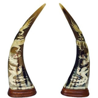 Vintage Chinese Engraved Cow Horns - Pair