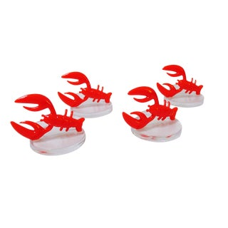 Lobster Lucite Place Card Holders - Set of 4
