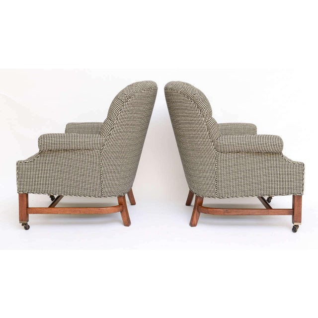 Image of Beefy Edwardian Style Button Tufted Club Chairs in Houndstooth