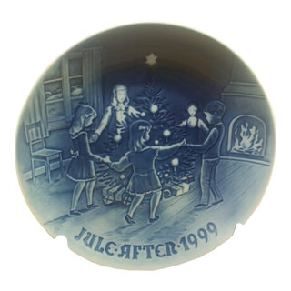 "Bing and Grondahl ""Dancing on Christmas Eve"" Cobalt Blue Collectible Plate"