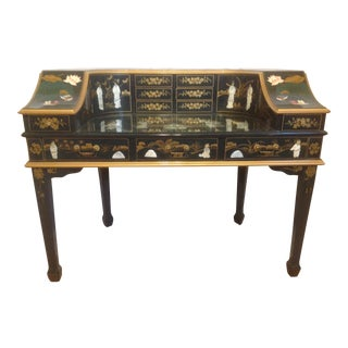 Green Lacquer Asian Writing Desk