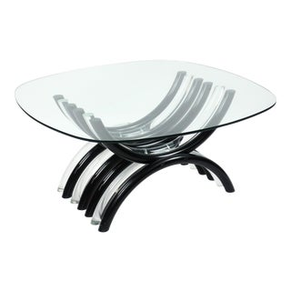 Mid-Century Modern Black & Clear Lucite Coffee Table