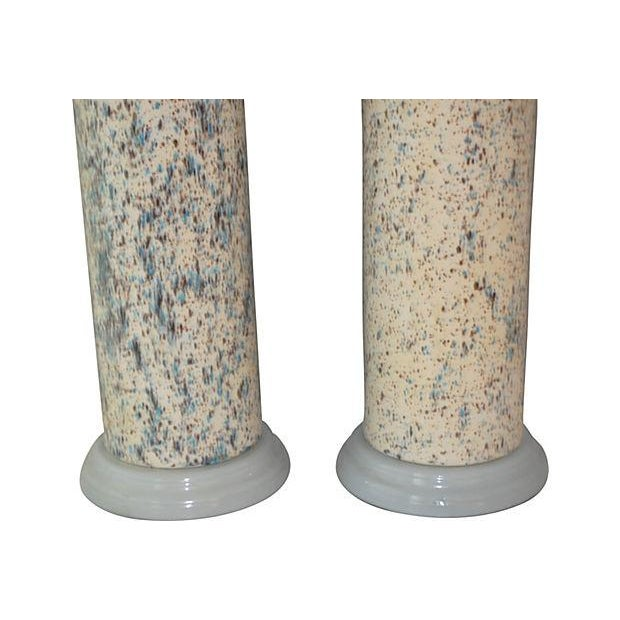 Midcentury Spatter-Painted Lamps - Pair - Image 3 of 4