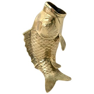 Mid-Century Large Solid Brass Koi Fish Sculpture Vase