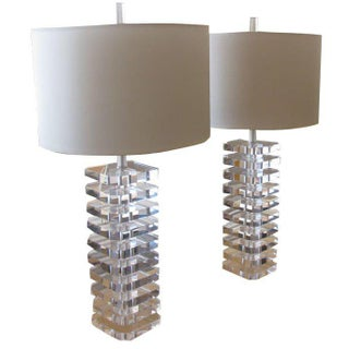 Lucite Table Lamp: Stacked Lucite Table Lamps- A Pair,Lighting