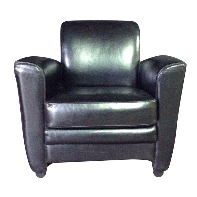 Image of Stone International Black Leather Lounge Chair