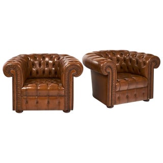Vintage Cognac Leather Chesterfield Chairs- A Pair